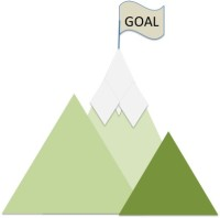 Distant goal on top of mountain